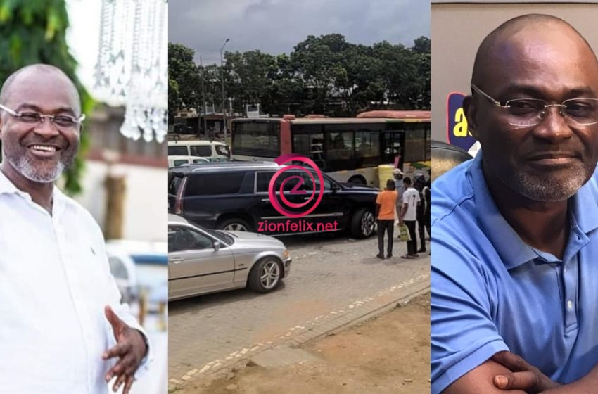 Just In: Kennedy Agyapong's Car Involved In Accident with MMT Bus (+Photos)