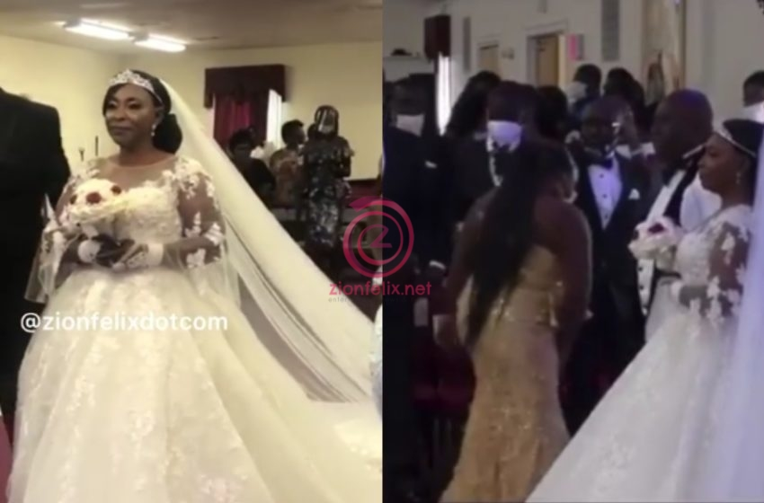 First Videos From Veteran Actress Kyeiwaa's White Wedding Happening In America Surfaces Online (Watch)