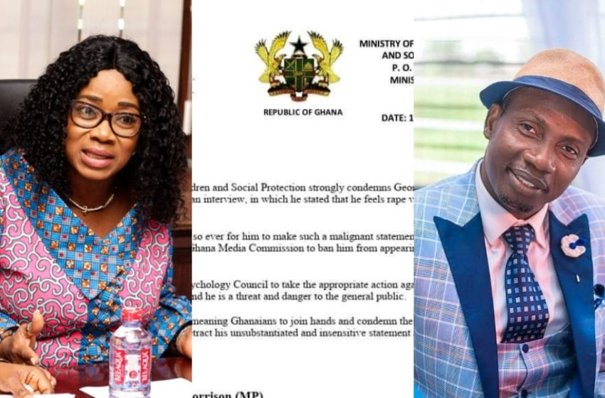 We Condemn Counselor Lutterodt's Rape Comments; Ban Him – Ministry Of Gender Tell Media Commission, Psychology Council (See Letter)
