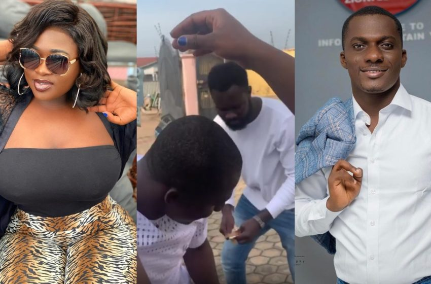 Sista Afia Sprays Cash On Zionfelix As His Birthday Gift In Funny Video (Watch What She Did)