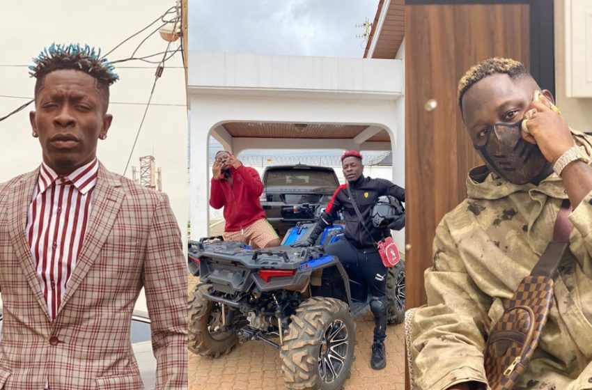 Shatta Wale Storms Medikal's House With Powerful Quad Bike And Dashes Him GHC 10,000 To Buy Fuel (Watch Video)