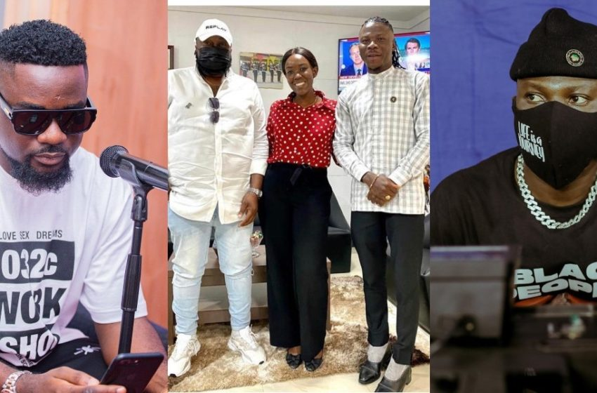 Fans Tease Stonebwoy For Wearing Ladies' Shoe To Meeting With Angeltown As Photos Pop Up (See)
