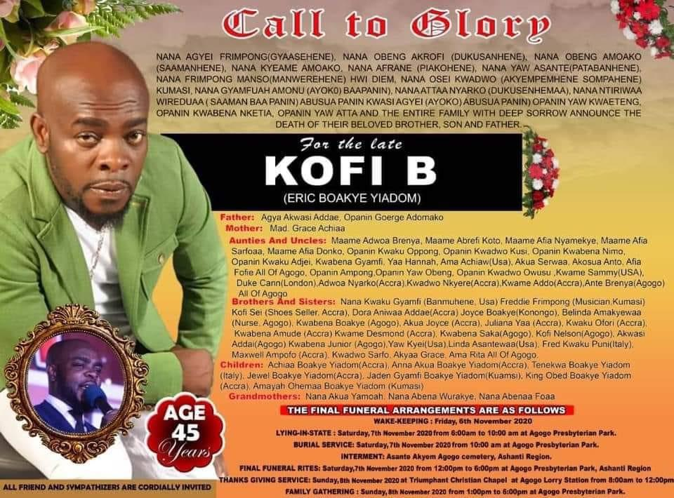 Funeral Details Of Late Singer Kofi B Finally Released (See Poster) -  ZionFelix.net