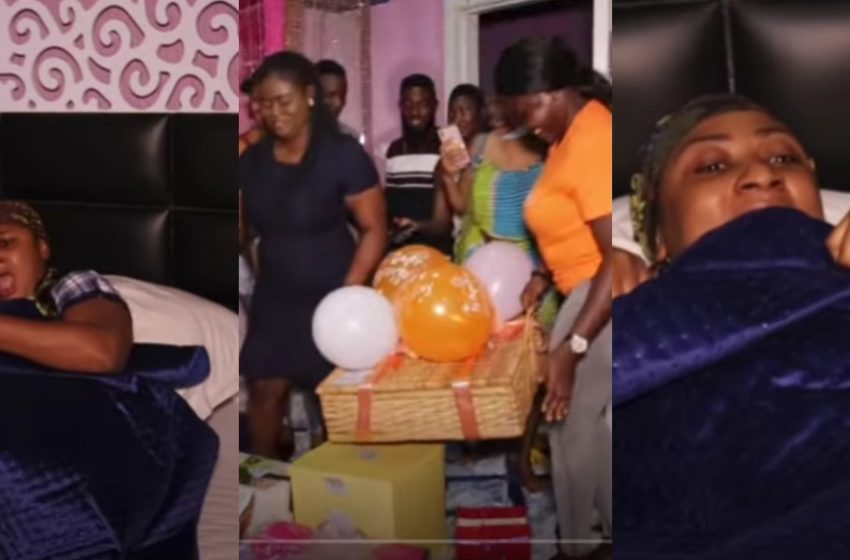Actress Ellen Kyei White Gets Massive Early Morning Surprise On Her Birthday Today From Blogger Zionfelix And His Team (Watch Video)
