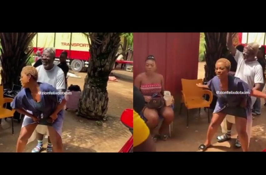 "Oboy Siki Enjoys Himself On The Set Of Cocoa TV Series As Lady With ""Huge Tundra"" Twerks For Him (Watch Video)"
