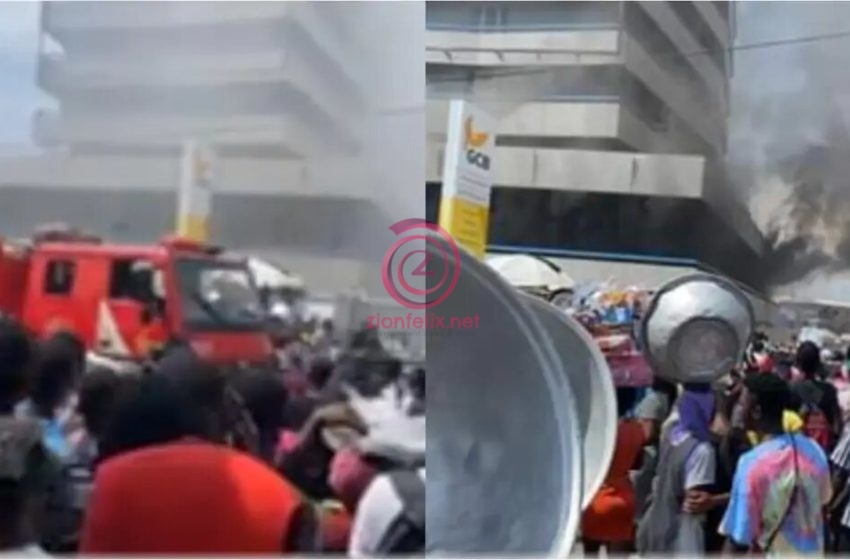 LIVE VIDEO: Fire Guts Kantamanto GCB Bank; Traders Run For Their Lives