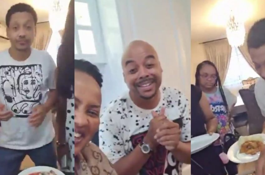 Hollywood Star Khalil Kain Lands In Ghana As He Storms Nana Ama McBrown's Home To Eat Local Dishes (+Video)