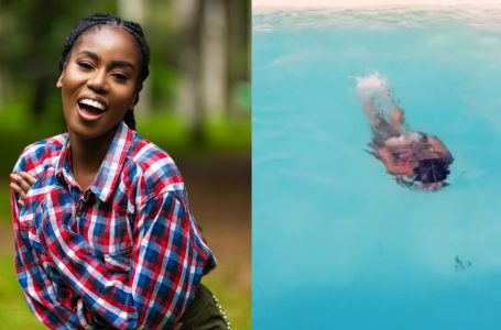 Mzvee Flaunts Her R@w B@ck$ide As She Goes For Swimming On New Year's Eve (Video)