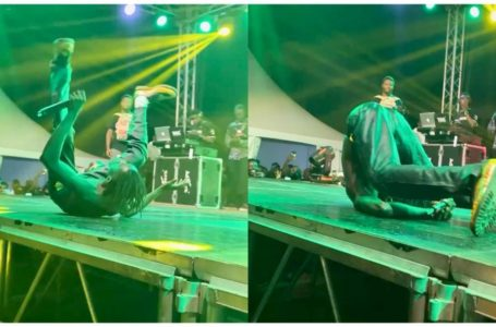 Fall Of The Year: Lil Win Falls Heavily While Performing At Fameye's Concert (+Video)
