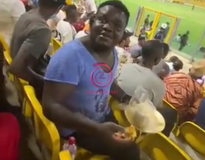 Watch Moment An Accra Hearts Of Oak Fan Was Spotted With Banku And Okro Soup In The Stadium (Video)