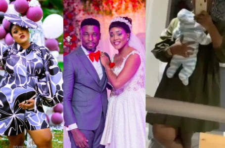 A-Plus' Wife, Akosua Vee Shares First Exclusive Video Of Their New Born Son Online