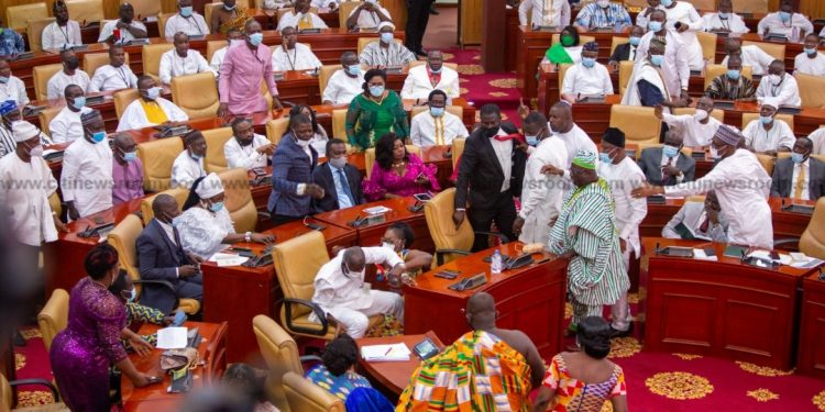 Drama In Parliament As NDC And NPP MPs-elect Clash Over Which Party Takes The Majority Side (Videos)