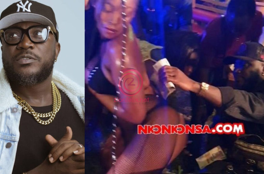 Nhyiraba Kojo Blows Wads Of Money On Tw3rk!ng str!ppers At D-Black's Pool Party (Video)