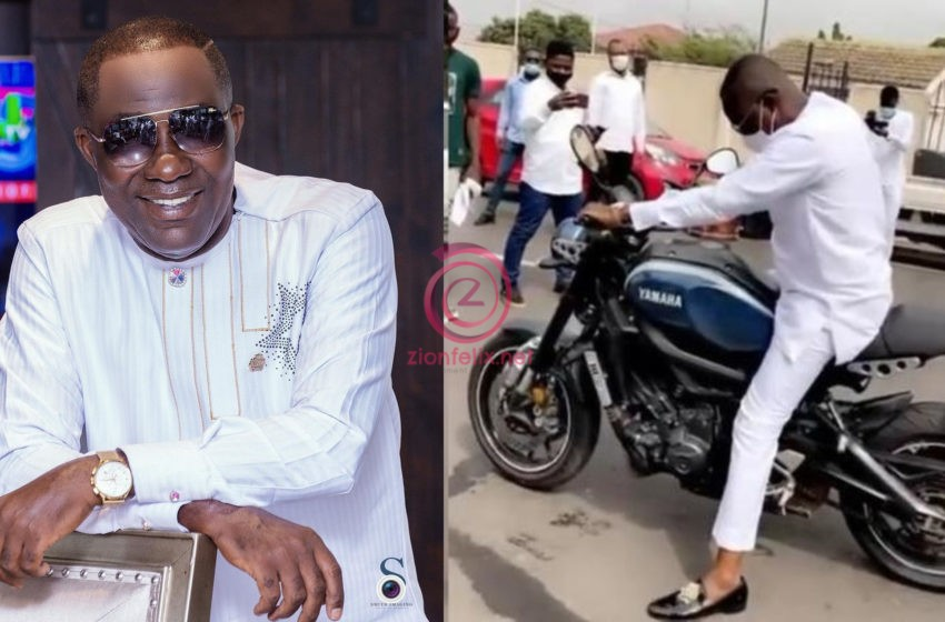 Video Of The Humbling Moment Dr. Osei Kwame Despite Packed All His Luxurious Cars And Drove An 'Okada' To His Birthday Party Hits Online