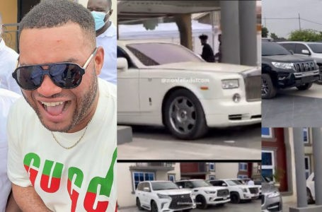 Kwadwo Safo Jnr Lines Up All His Luxurious Cars Which Include A Rolls Royce, G-Wagon And Others On His 35th Birthday (Video)