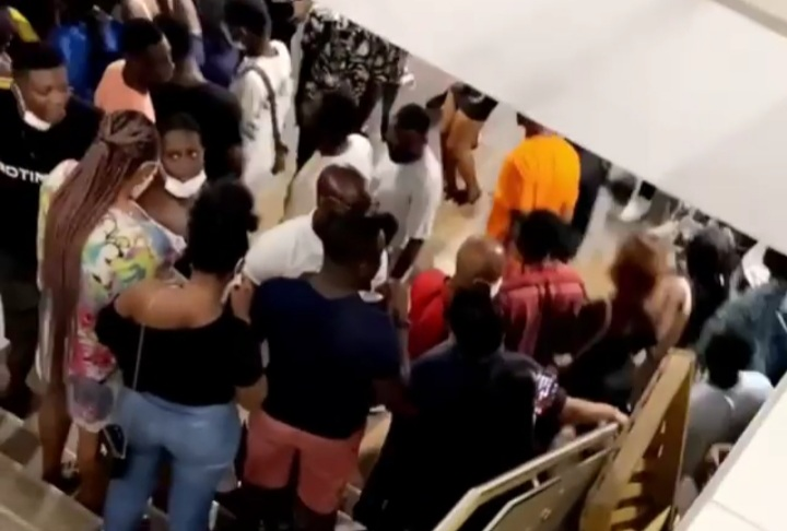 100 Metres As Soldiers And Police Storm Massive Party At The Basement, Kumasi City Mall (Videos)