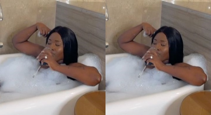 Married Fella Makafui Drops Video Of Herself While Bath!ng On Social Media