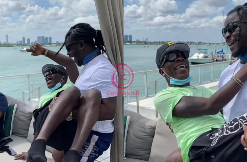 VIDEO: Musician Jupitar Carries Shatta Wale Like His Baby As They Chill In Miami