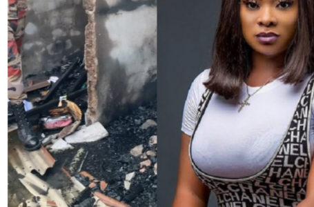 Ghanaian Celebrities Console Beverly Afaglo After The Fire Incident