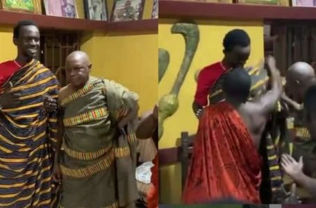 Blacko! Black Sherif Given Royal Welcome By Popular Chief In The Brong Region – Watch Video