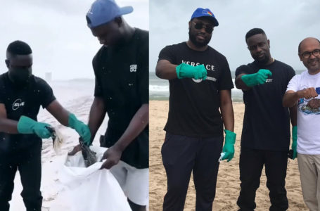 Sarkodie Spotted Picking Plastic Waste At The Beach – Watch Video