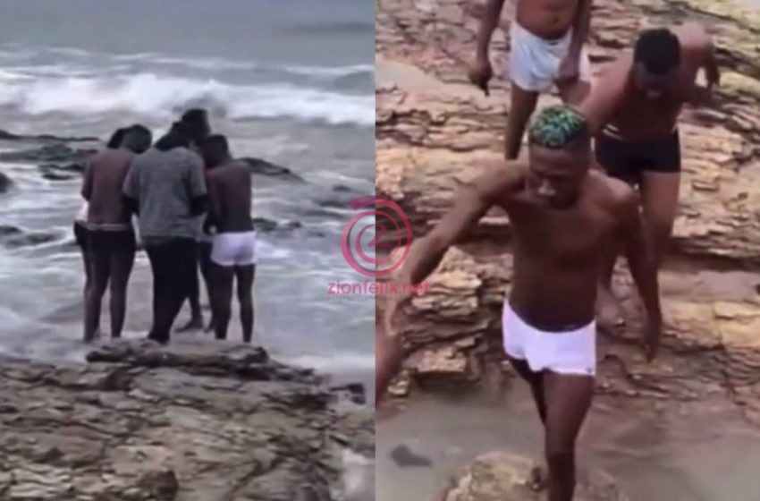 Shatta Wale, Medikal, Others Pray And Take A Bath In The Sea After Bail – Watch Video