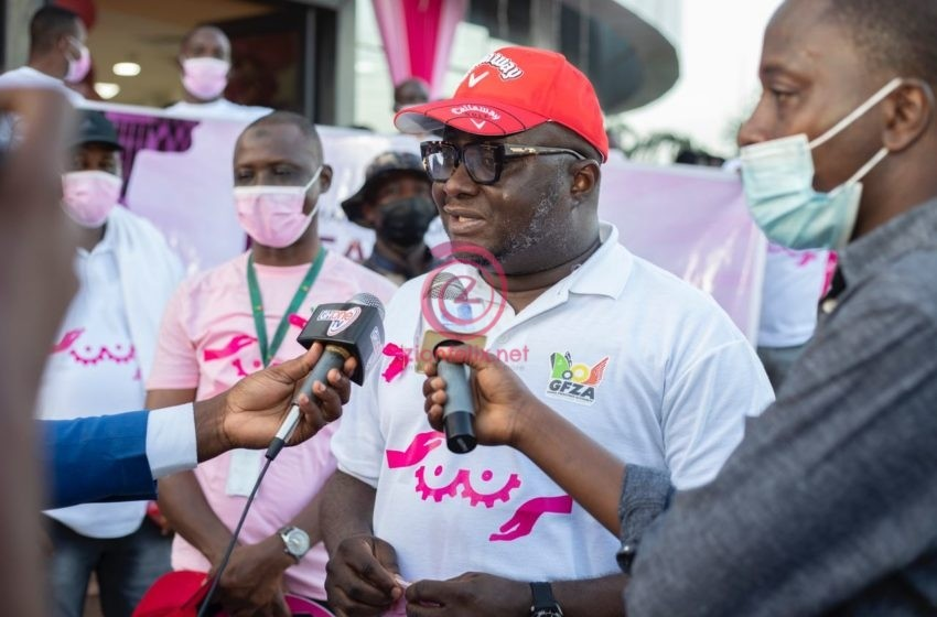CEO Of Ghana Free Zones Authority, Amb. Michael Ocquaye Leads Staff To Create Breast Cancer Awareness (Photos)